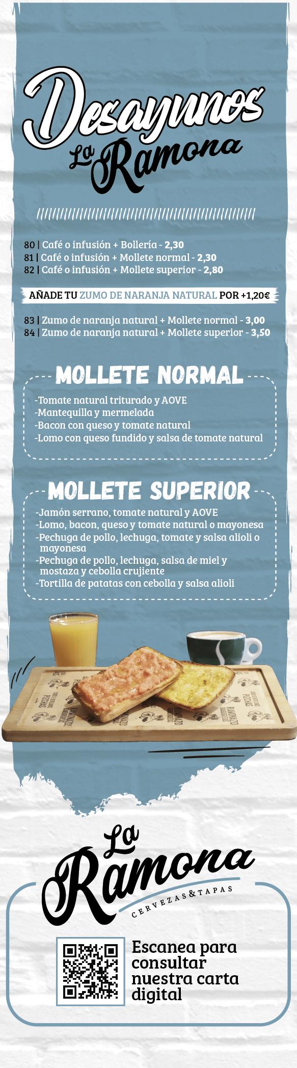 Carta La Ramona Desayuno