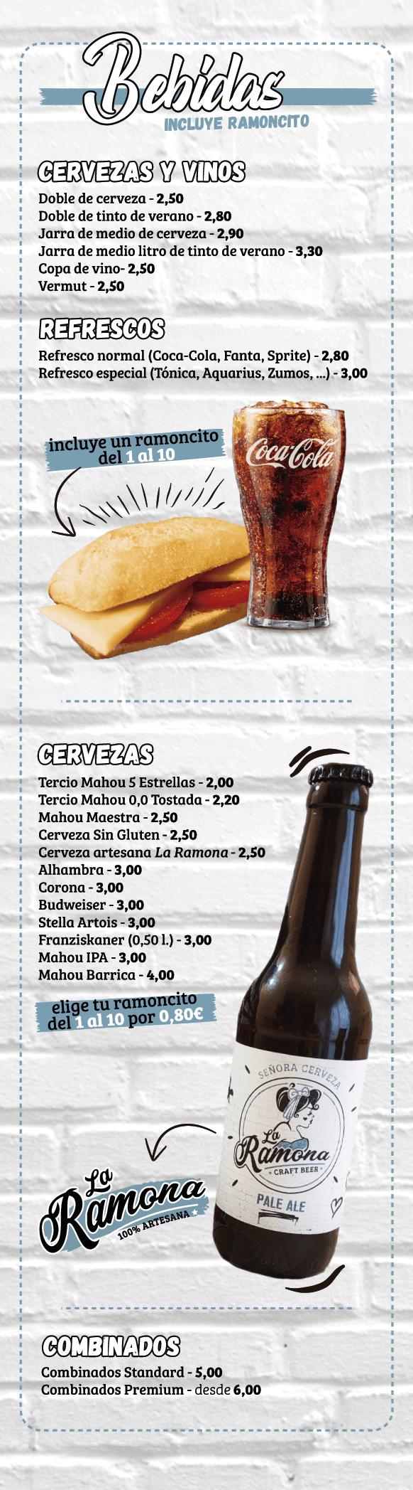 Carta La Ramona Refresco y Cerveza